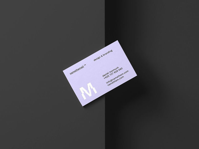 Classic Top View Business Card Mockup