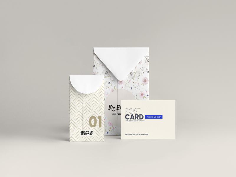 2 Envelopes & Business Card Stationery Free Mockup