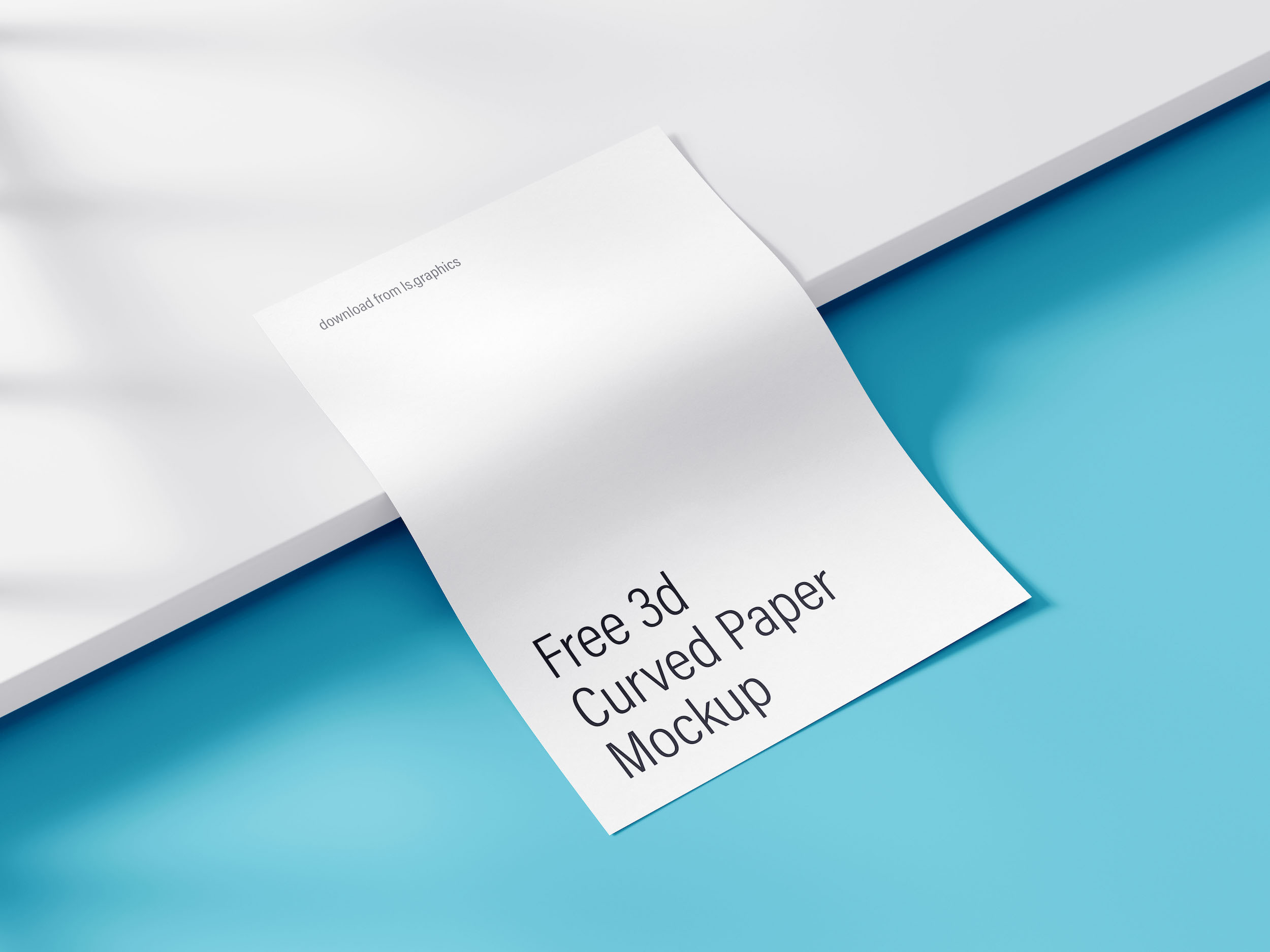 Free 3D curved Paper Mockup