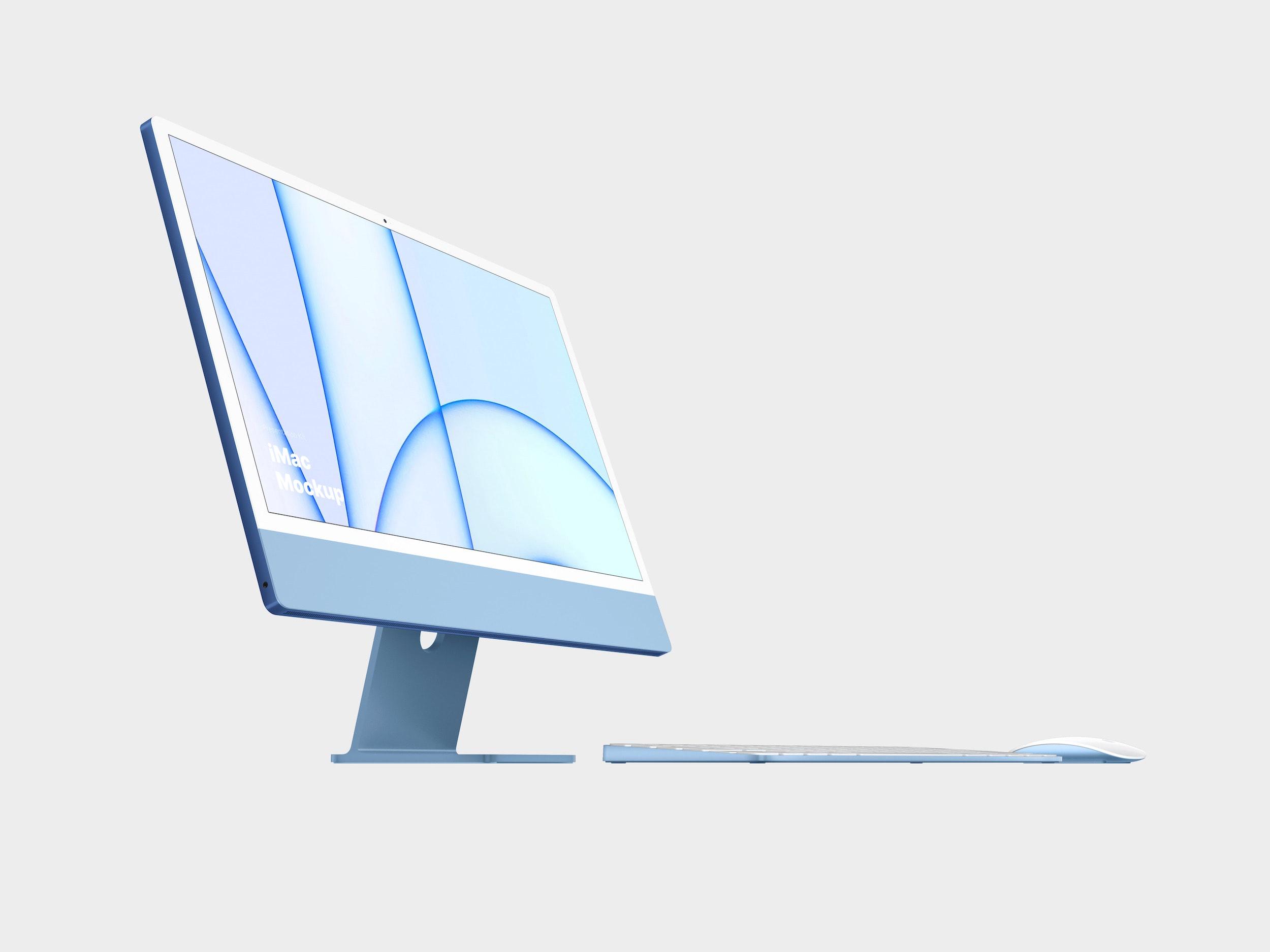 Blue iMac Mockup