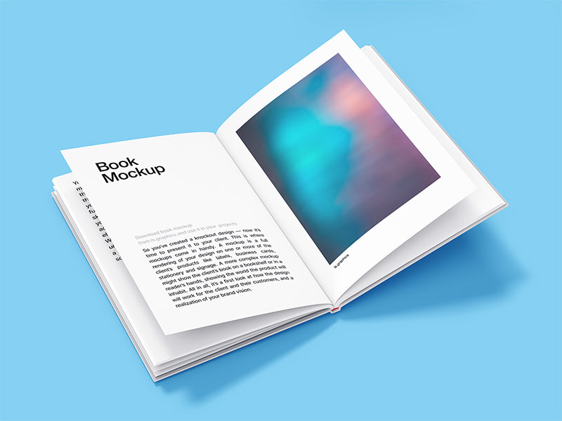 Highest quality hardcover book mockup to present your inner pages design in best possible way. Mockup is very easy to customize - just put your design inside 'change this' smart object and it's done!