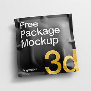 Square Pouch Realistic 3D Mockup