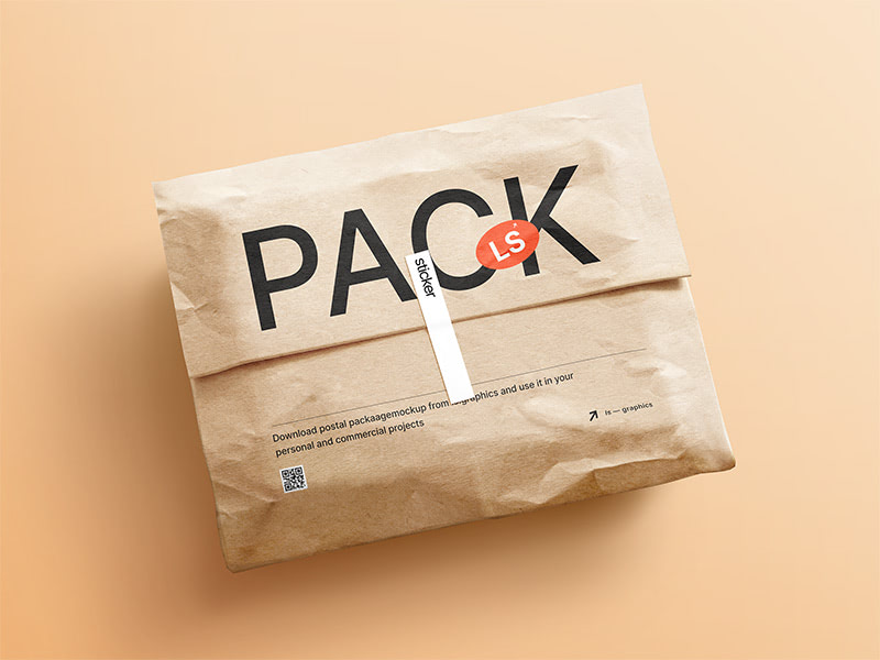 Aesthetic scene with the cute brown kraft paper postal package that works well with the sticker mockup. Smart objects make it easy to place your logos, graphics and other designs into the mockup with minimal effort.