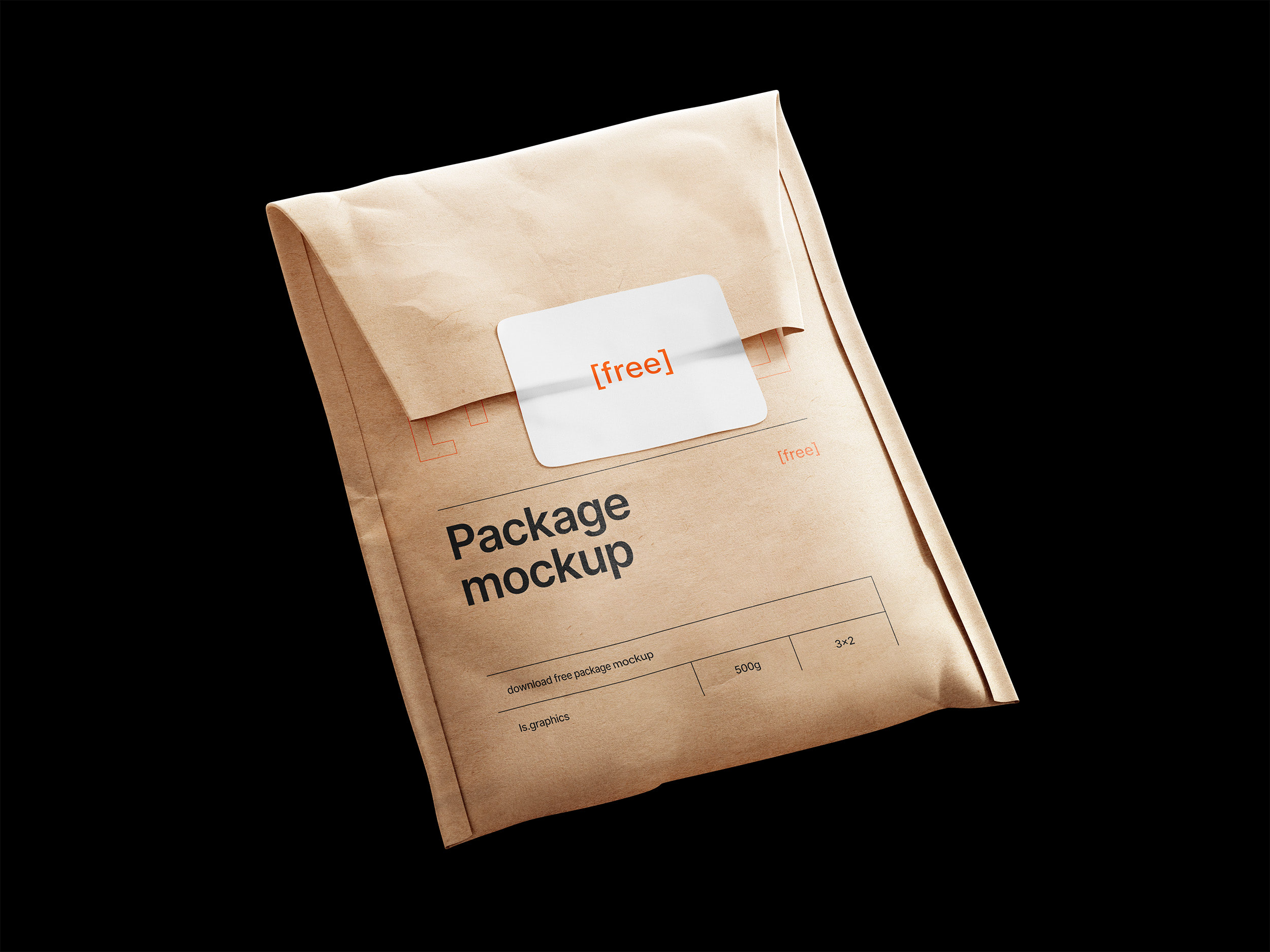 Kraft Paper Postal Bag & Sticker Mockup