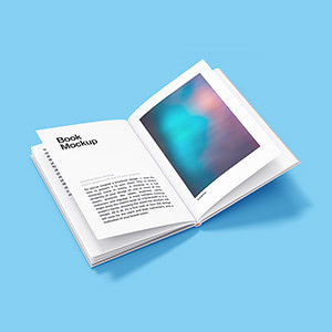 Free Open Hardcover Book Mockup