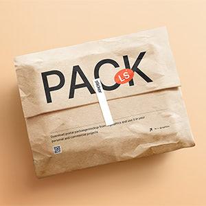 Kraft Paper Postal Package & Sticker Mockup