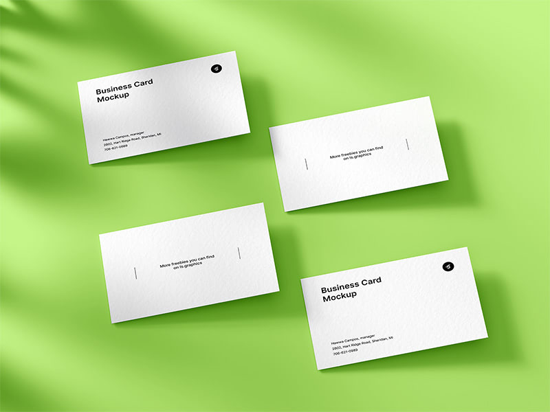 This beautiful light-filled mockup showcases 4 high-quality business cards in a top of view with charming shadow overlay effect. 4 business cards allow you to show the design of two different sides at once, and you can customize the spectacular shadows as you like. Feel free to download!