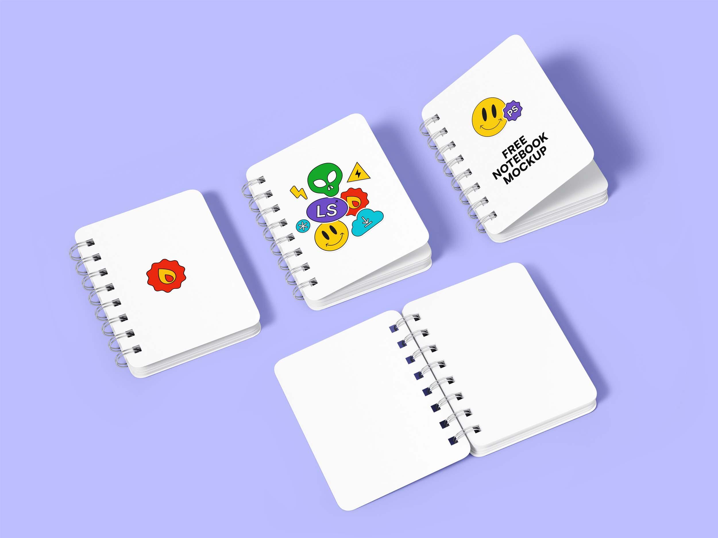 Free Spiral Hardcover Notebooks Mockup