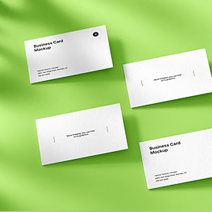 4 Classic Business Card Free Mockup