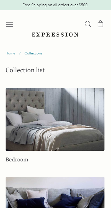Mobile collection listing page - row layout - center crop