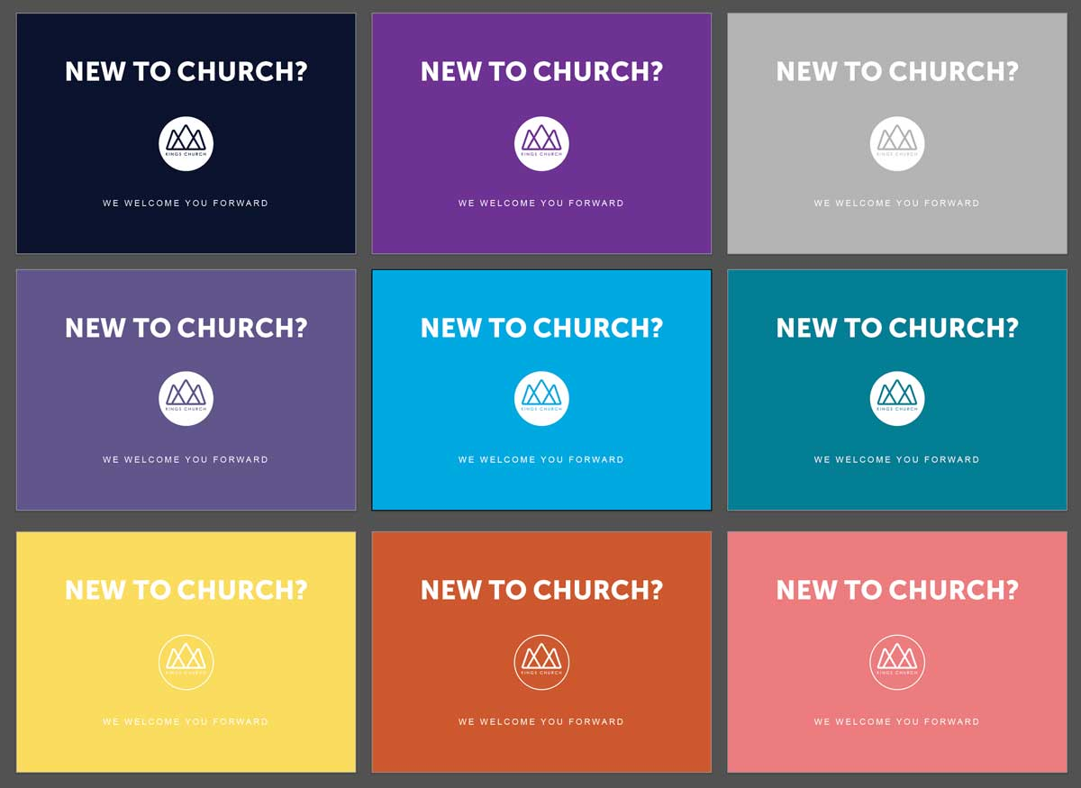 Image of Kings Church different colour and font pairings