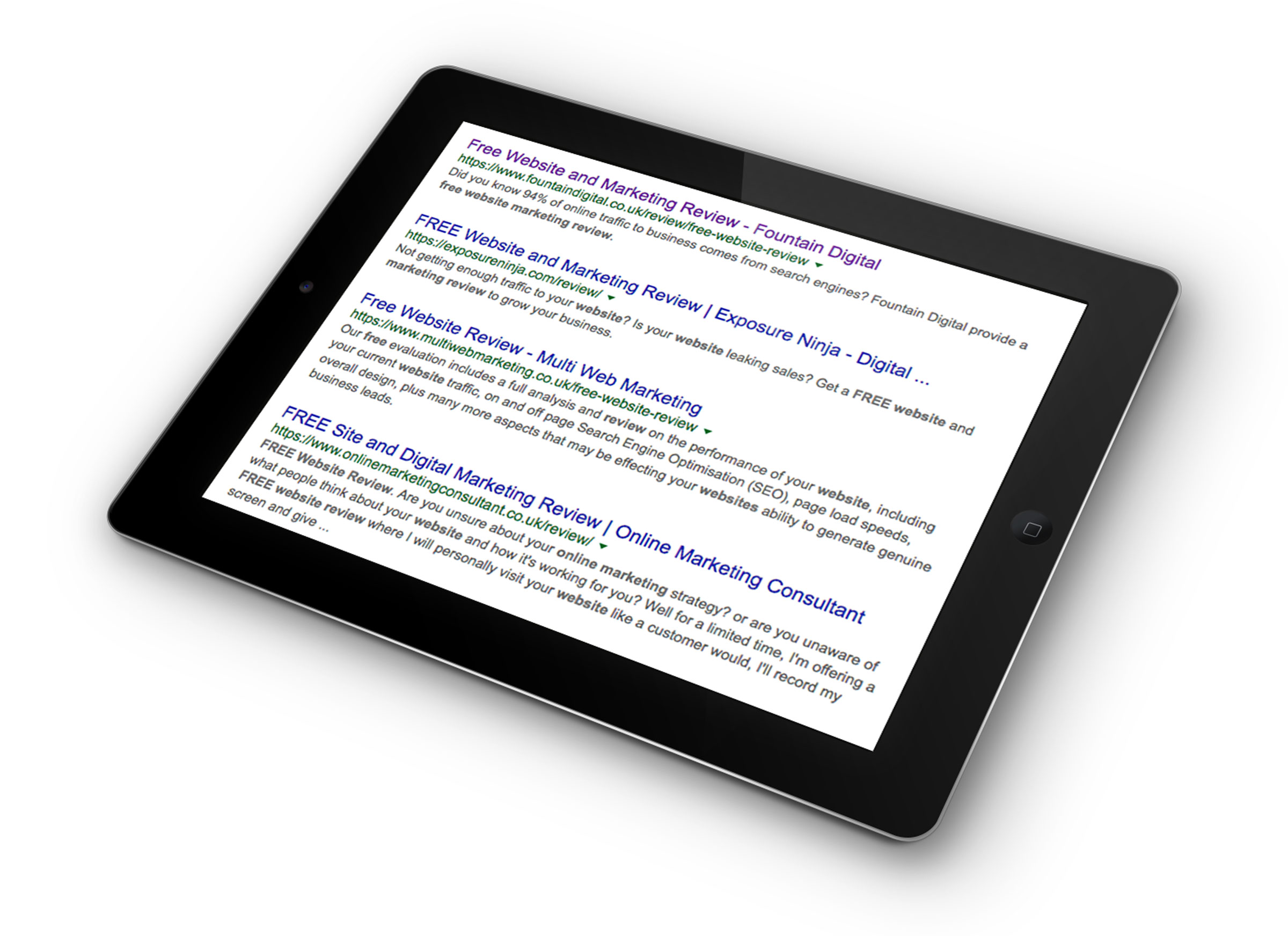 iPad image with Google search results
