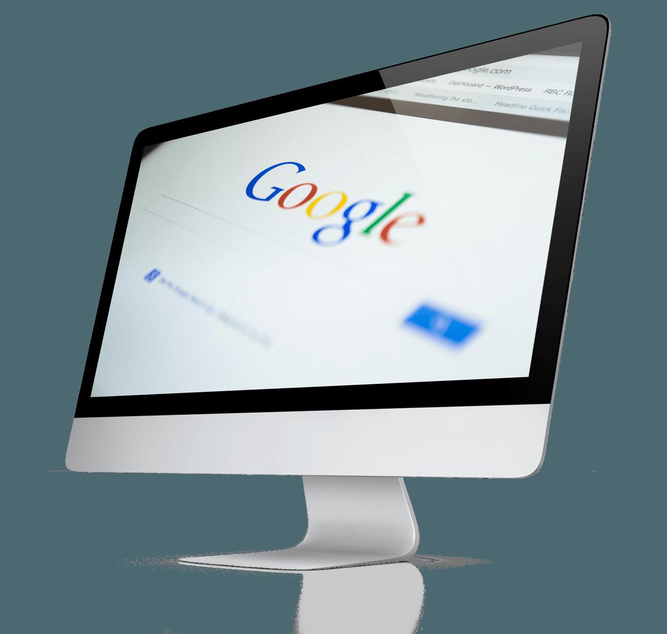 Image of Mac with Google search splash screen