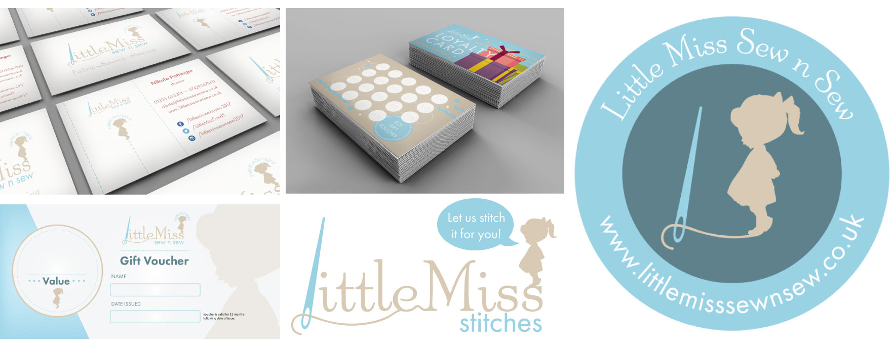Little Miss Sew n Sew business cards and vouchers