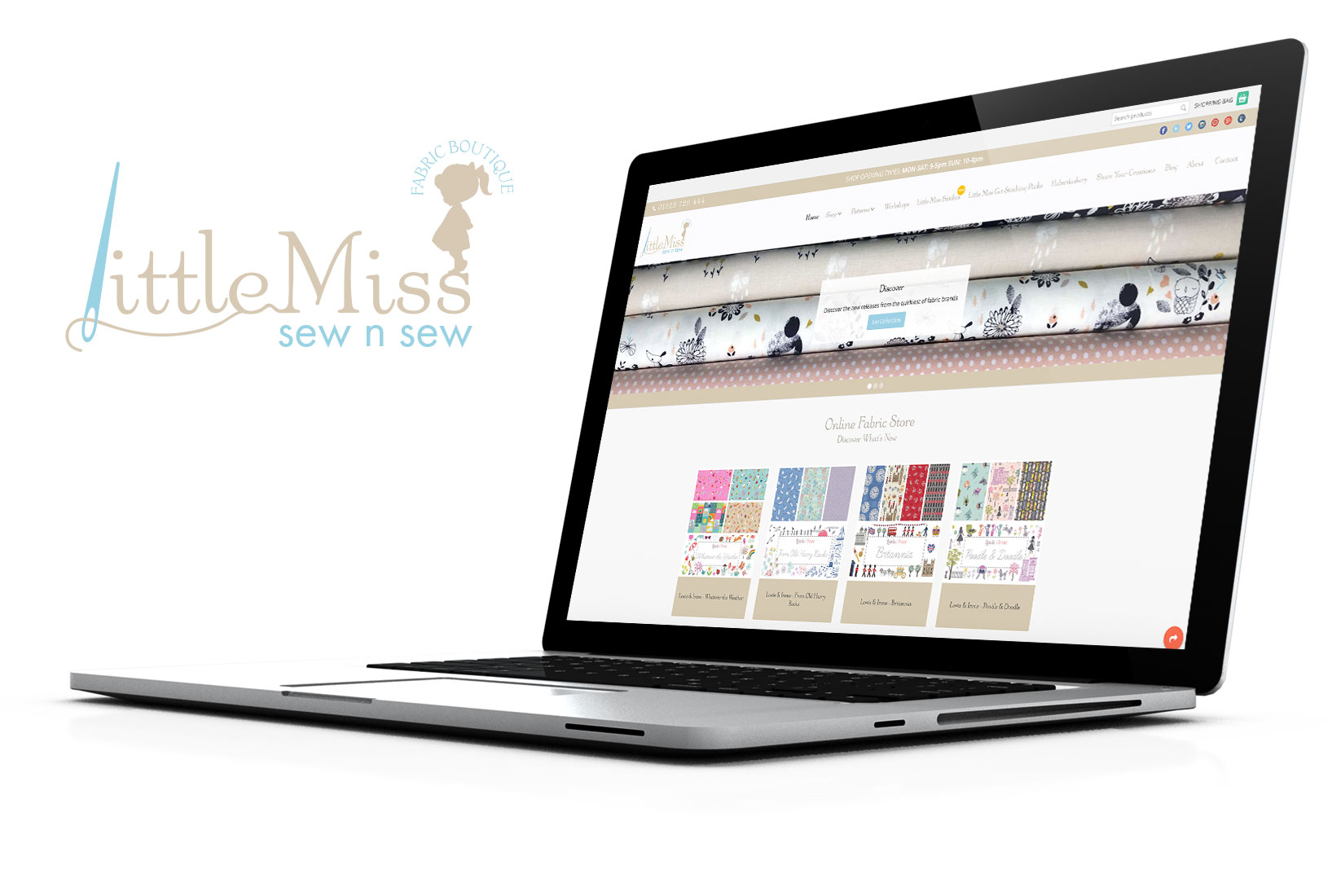 Laptop showing Little Miss Sew n Sew ecommerce