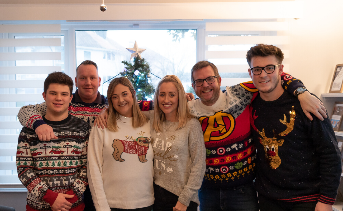 Photo of The Fountain Digital team in their Christmas jumpers