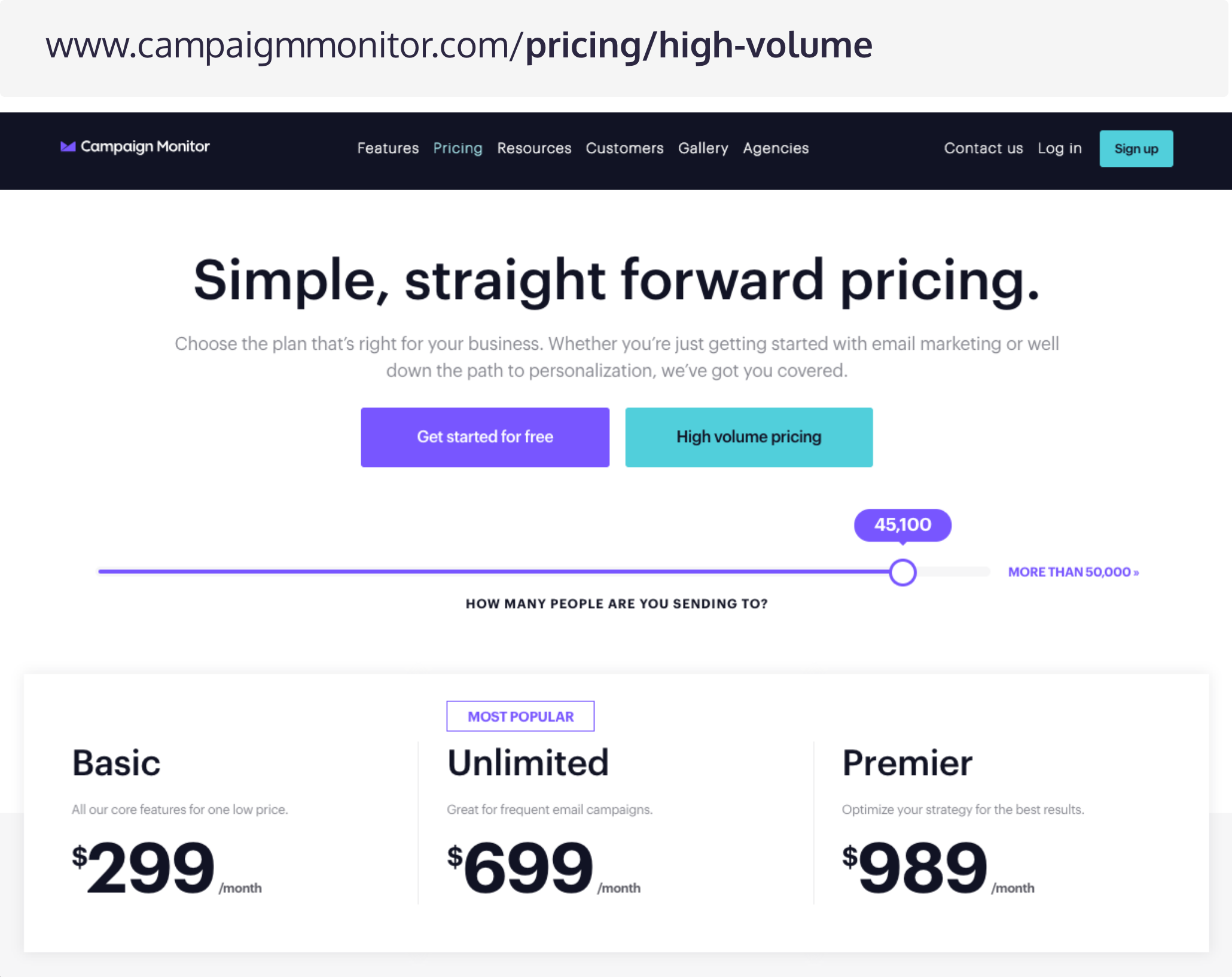 Pricing Pages B2B Lead Generation - Campaign Monitor