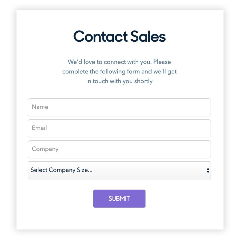 A sample lead capture form generated dynamically by Marketo