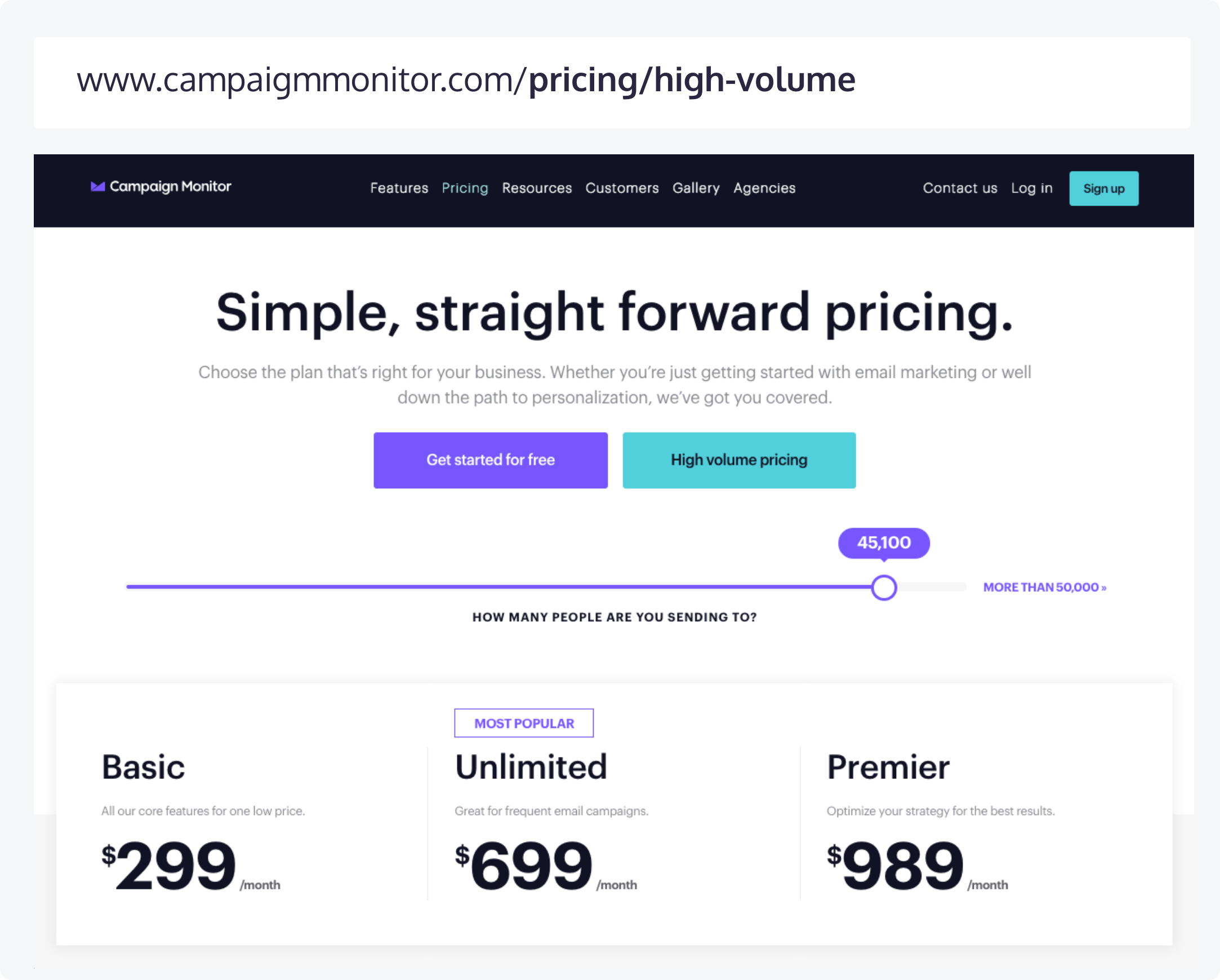 The Campaign Monitor pricing page and its corresponding URL