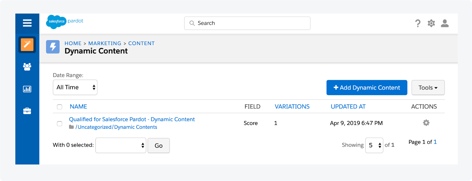 Your Pardot Dynamic Content has now been created