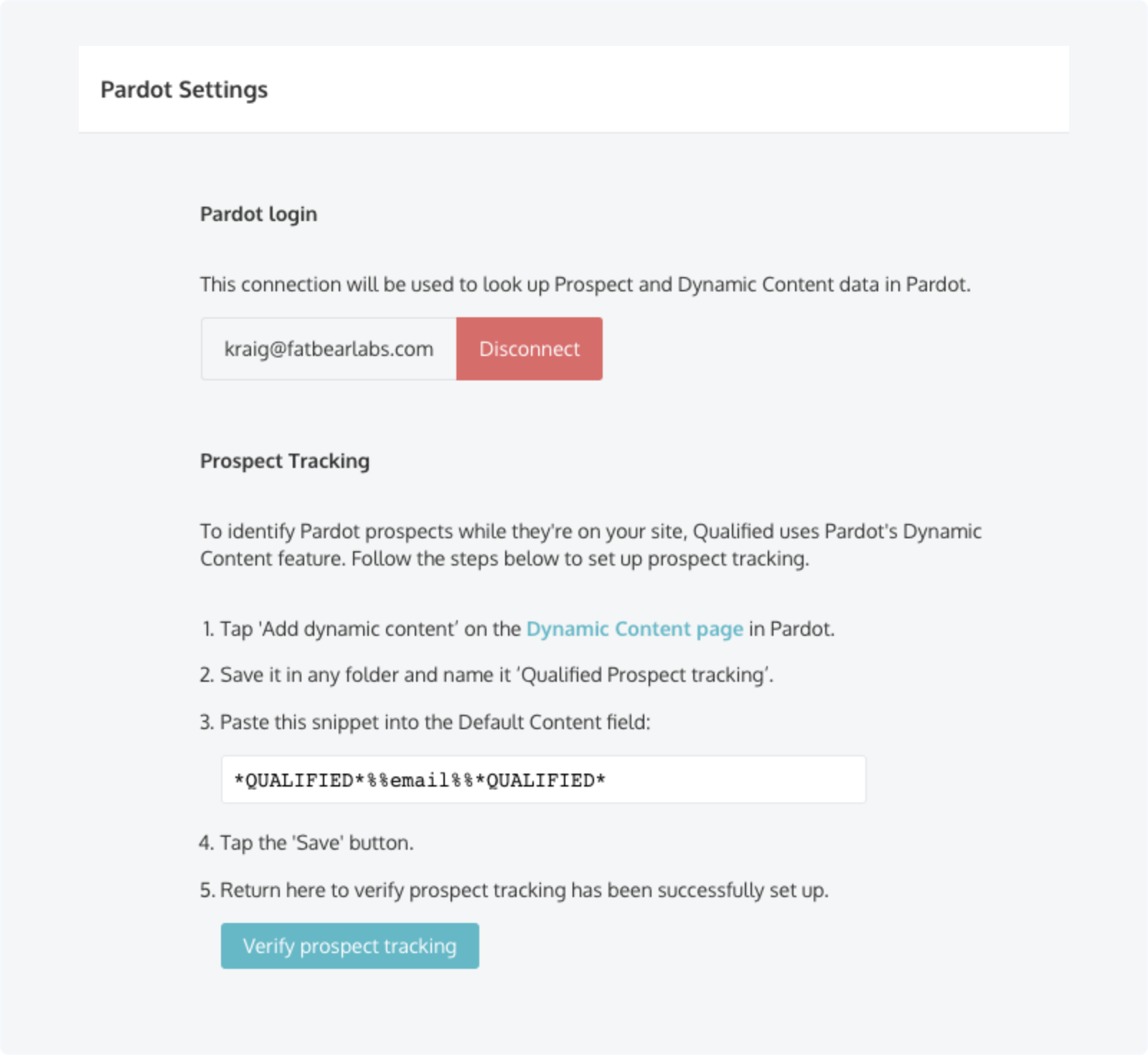 Verify that Qualified can read your Pardot Dynamic Content