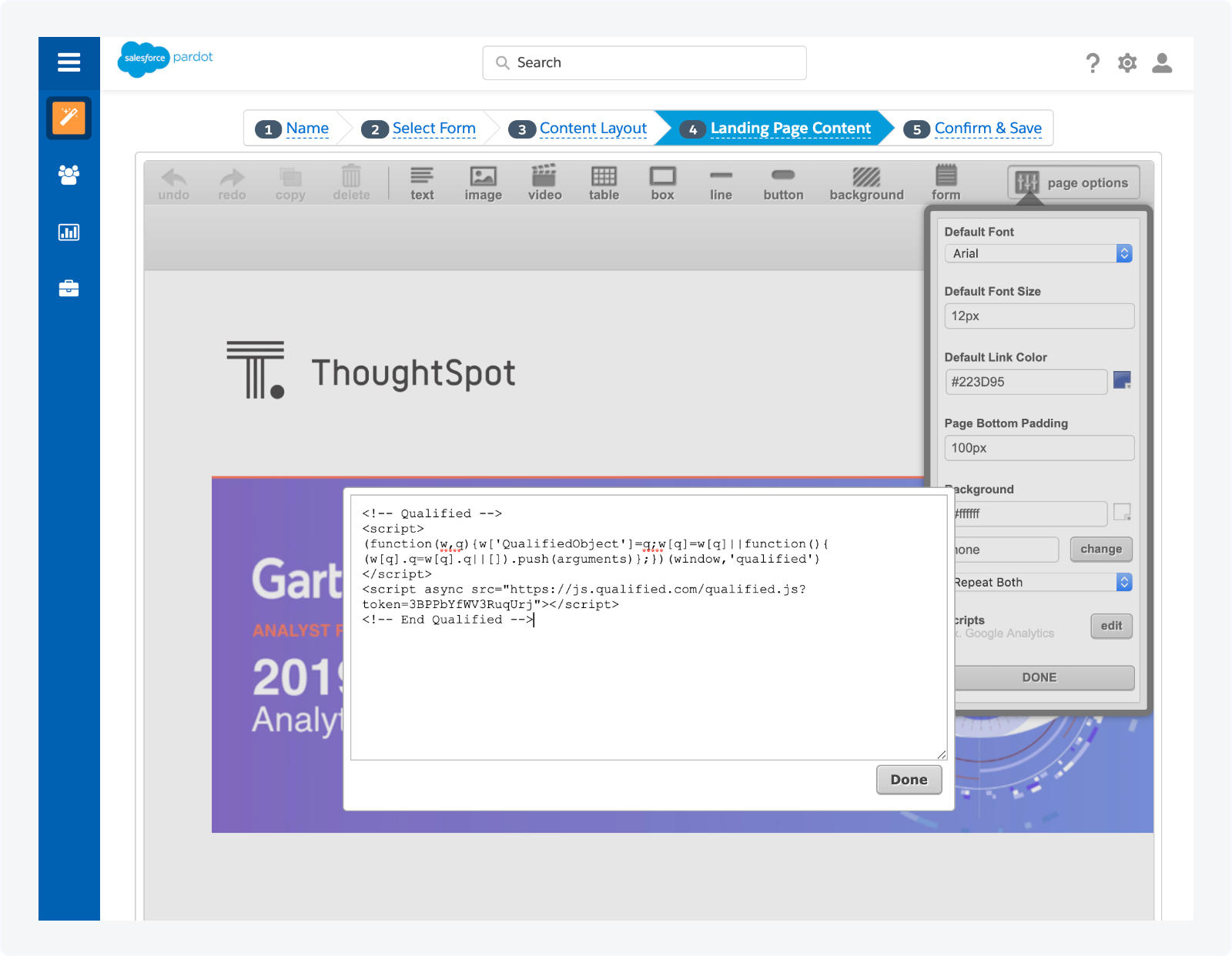Adding the Qualified javascript snippet to your Pardot landing pages