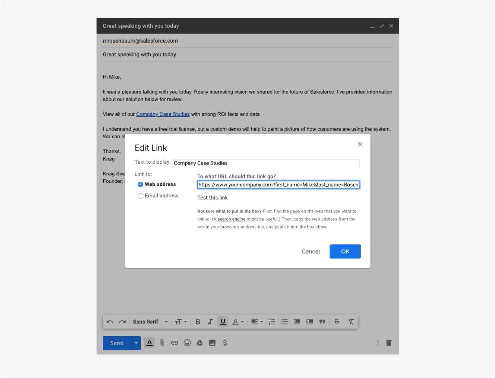 Constructing an email or email template with URL parameters