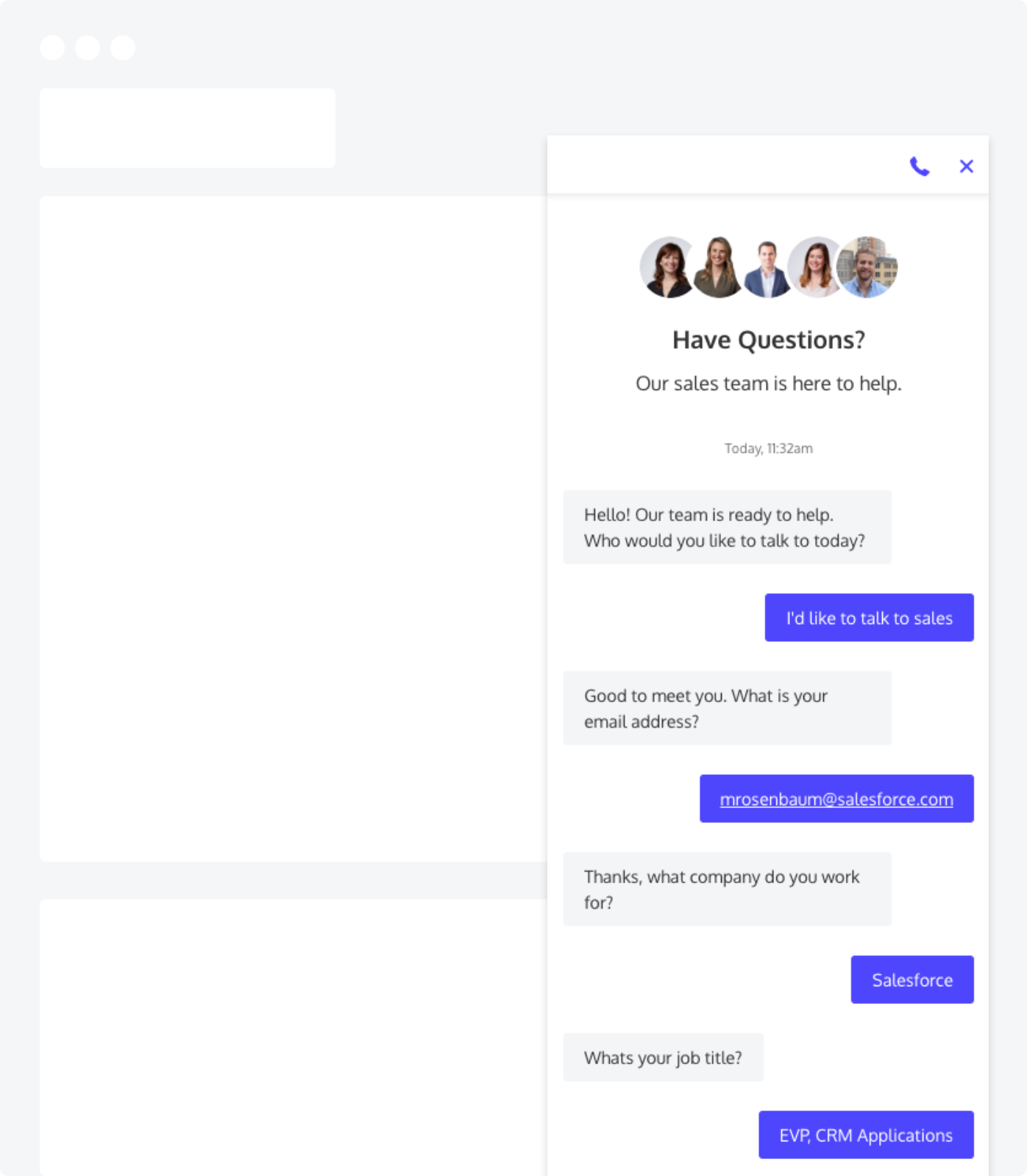 A chat bot collecting data and populating Lead Fields on a website