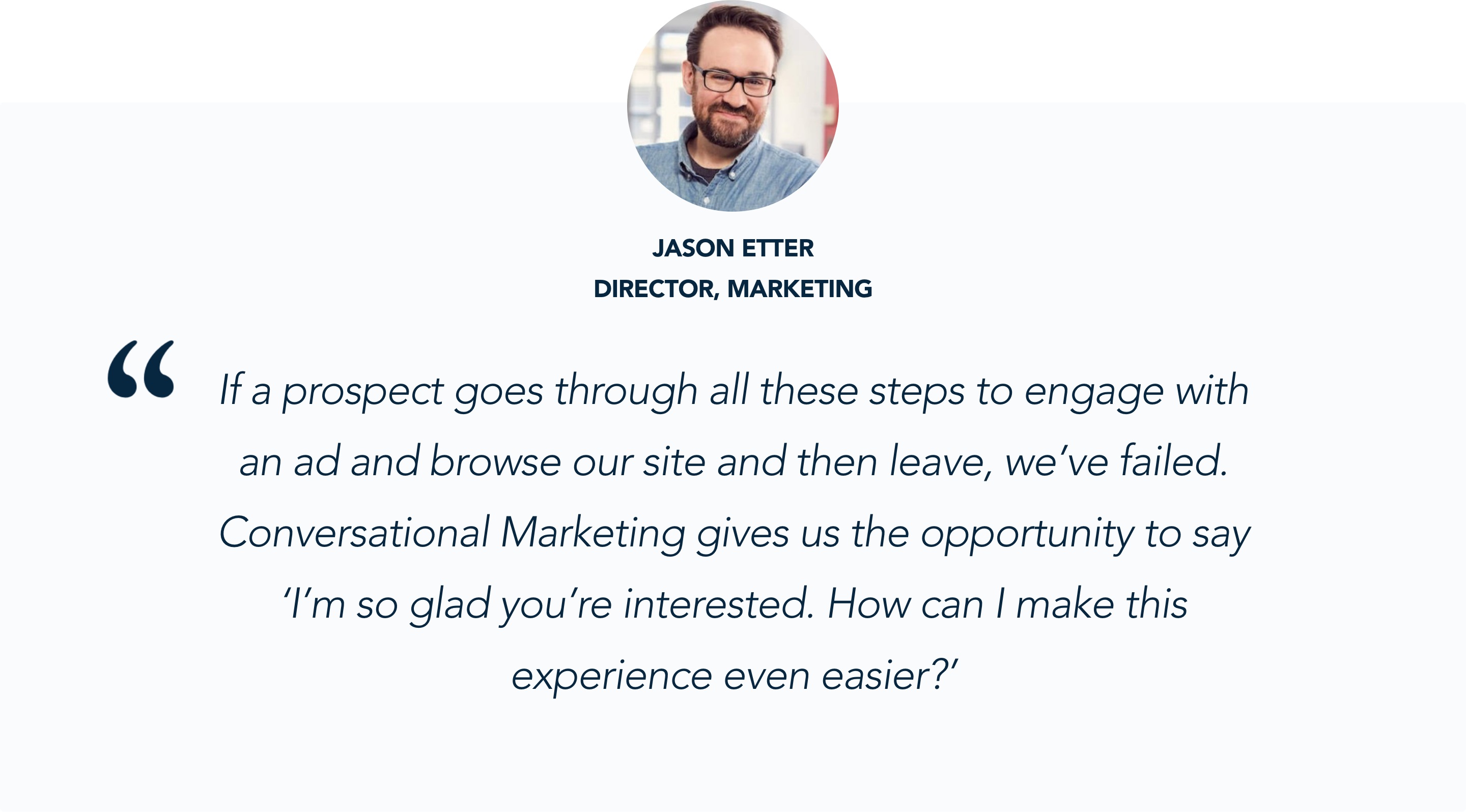 Jason Etter, Staffbase, talks about the promise of conversational marketing for their website