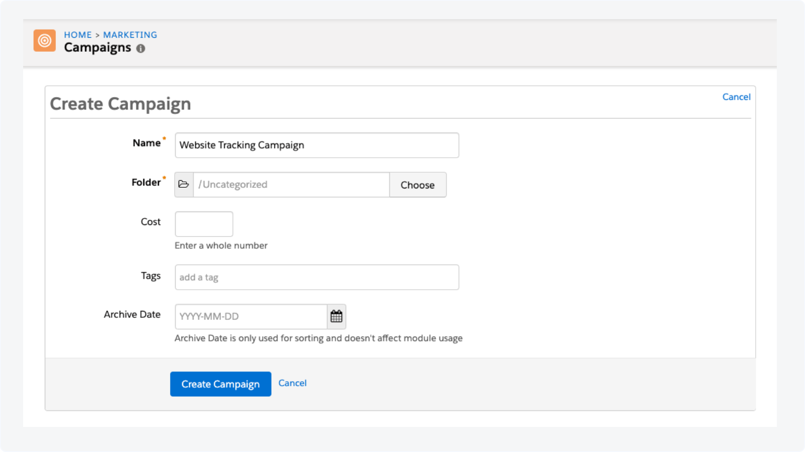 Creating a new campaign in Pardot to set up website tracking