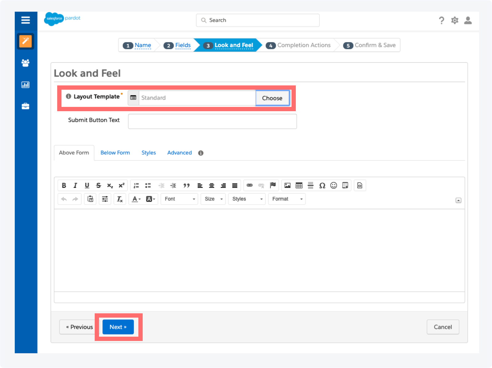 Creating a Pardot Form to Track Qualified Conversations as Activities Step 4