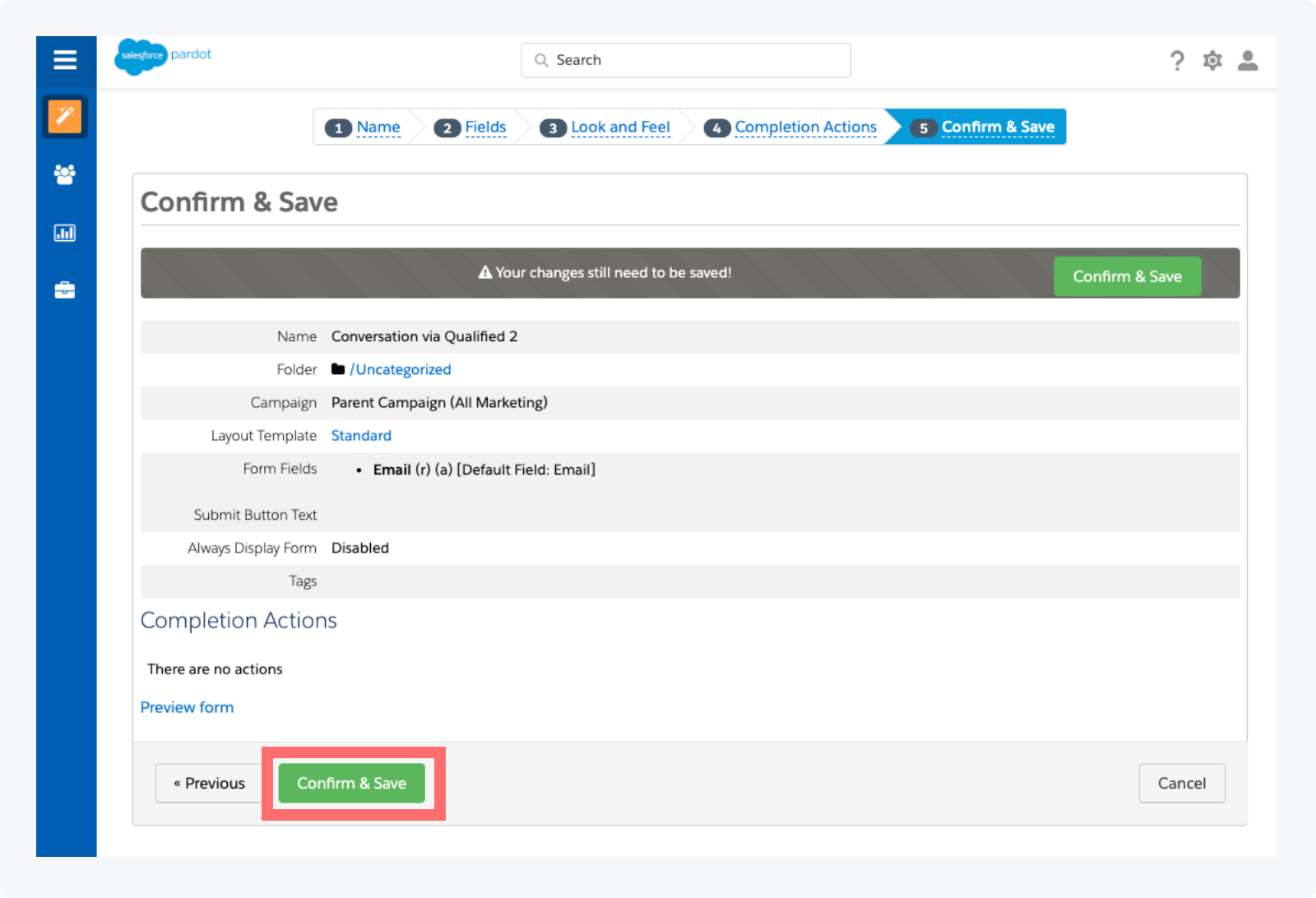 Creating a Pardot Form to Track Qualified Conversations as Activities Step 5