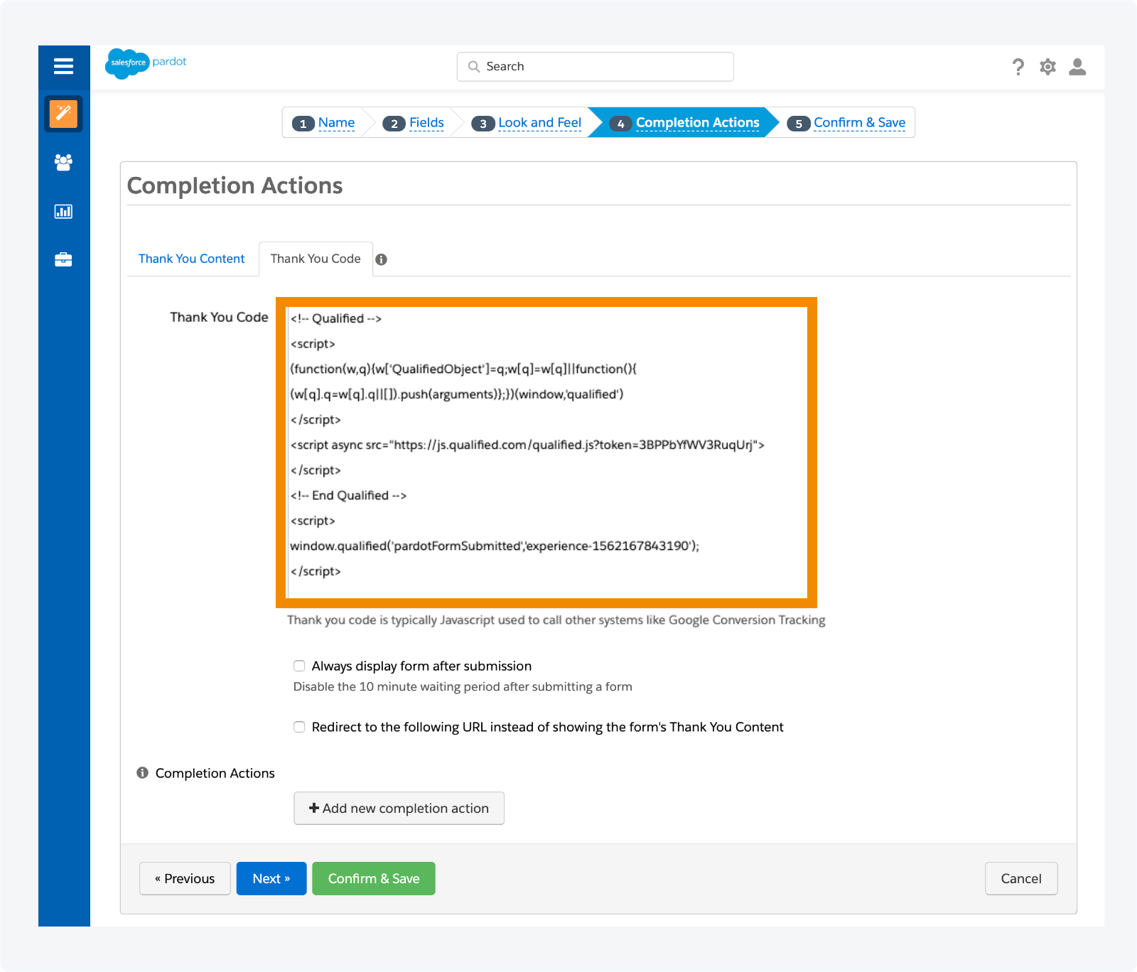Add the script to your Pardot form Thank You Code