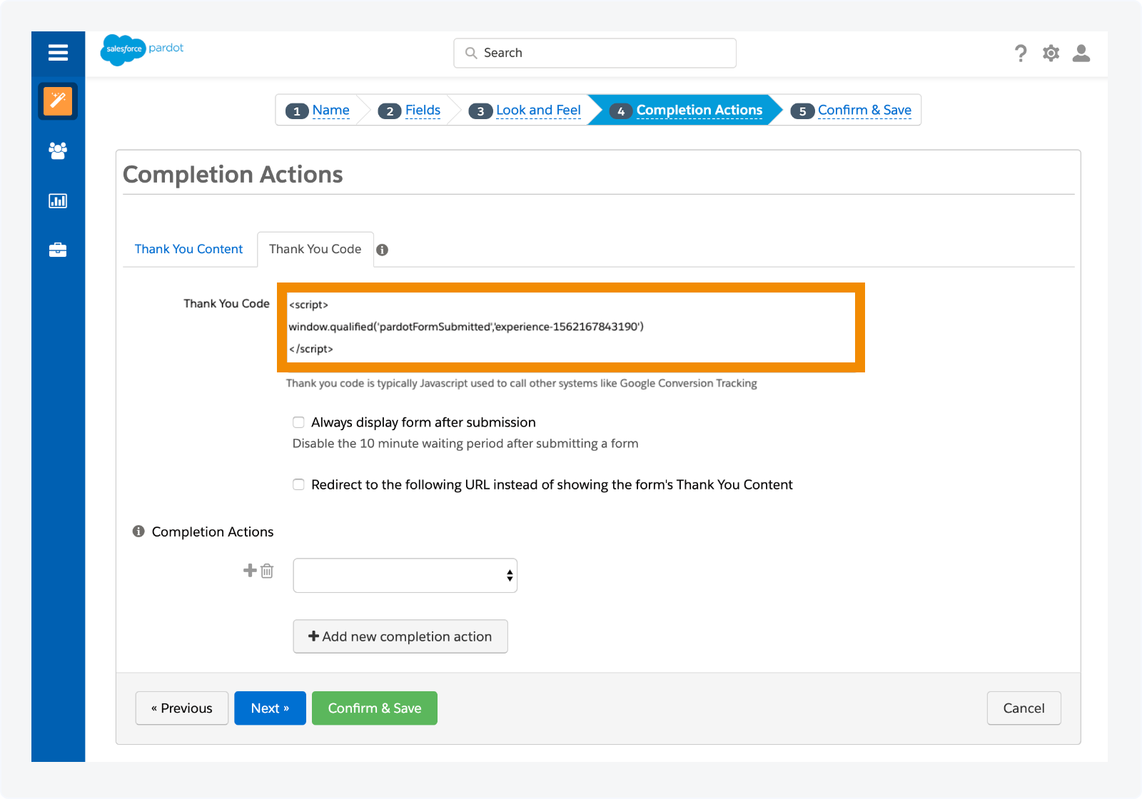 Adding the script to your Pardot form Thank you Code