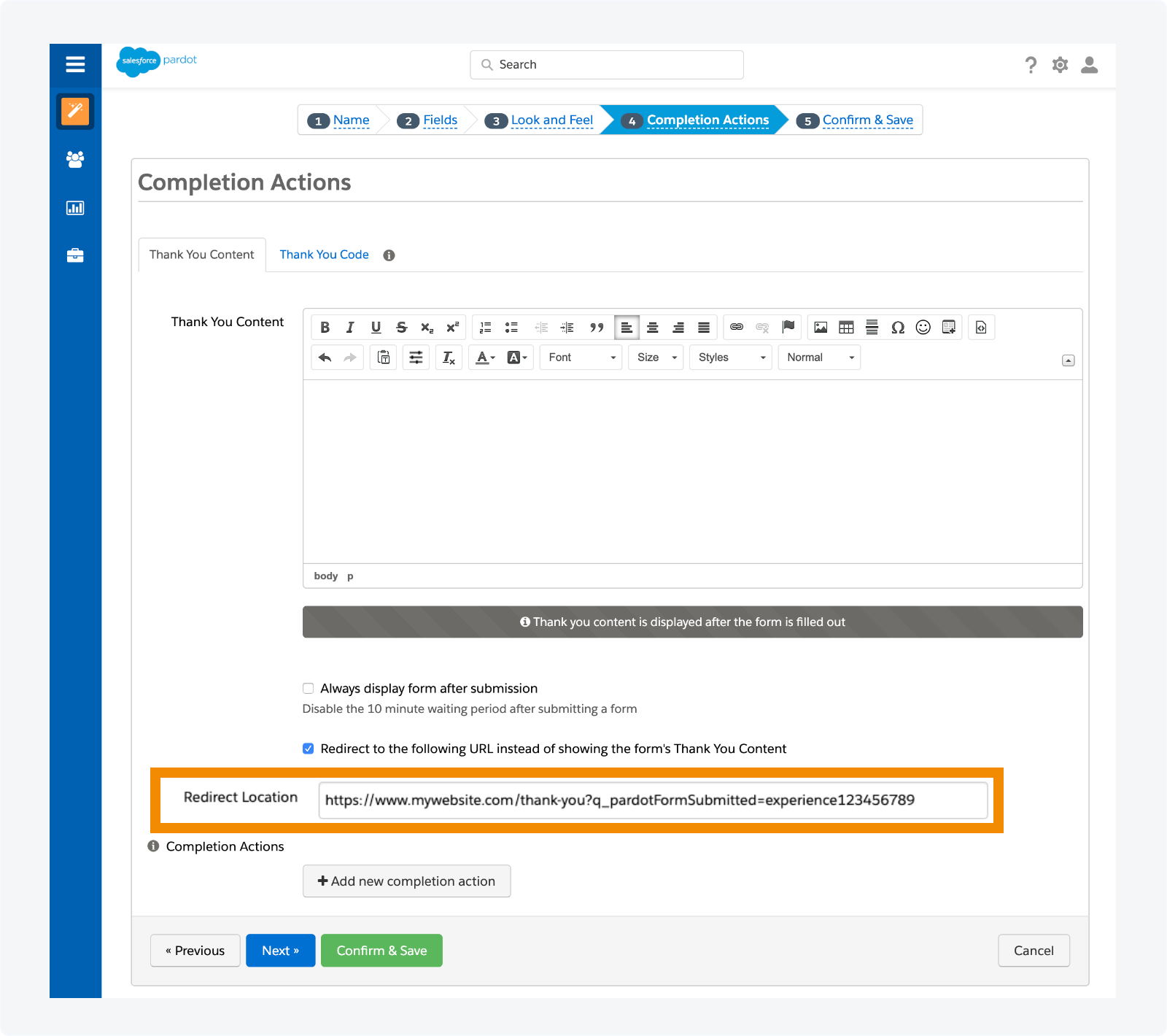 Adding the Qualified query parameter to you form URL redirect