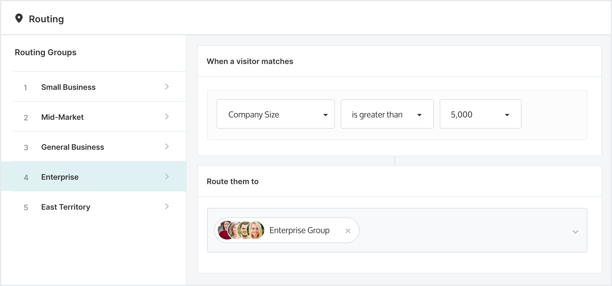 Qualified's Advanced Routing helps the right reps talk to the right website visitors