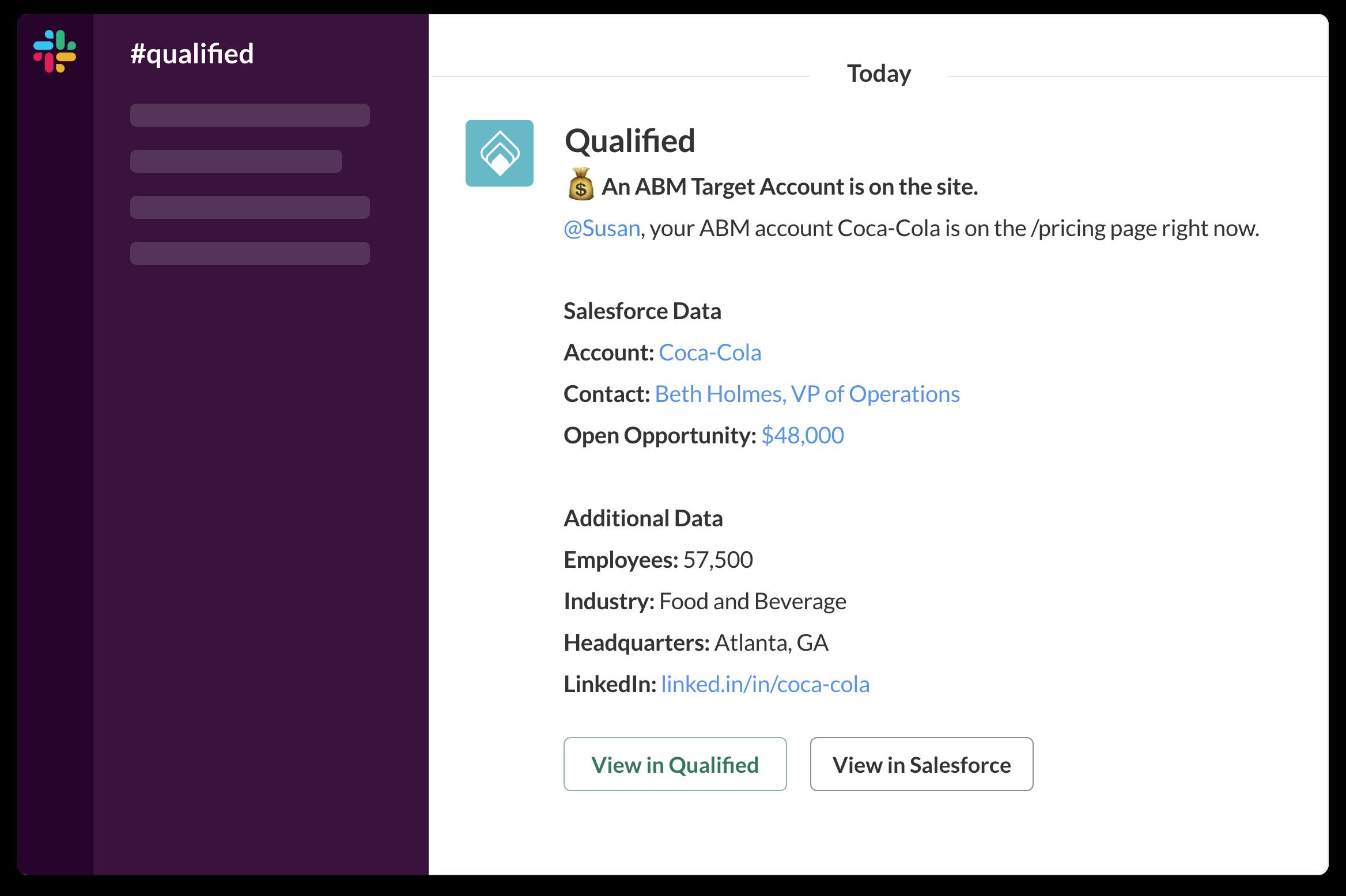 Send real-time alerts with Qualified's Slack Integration
