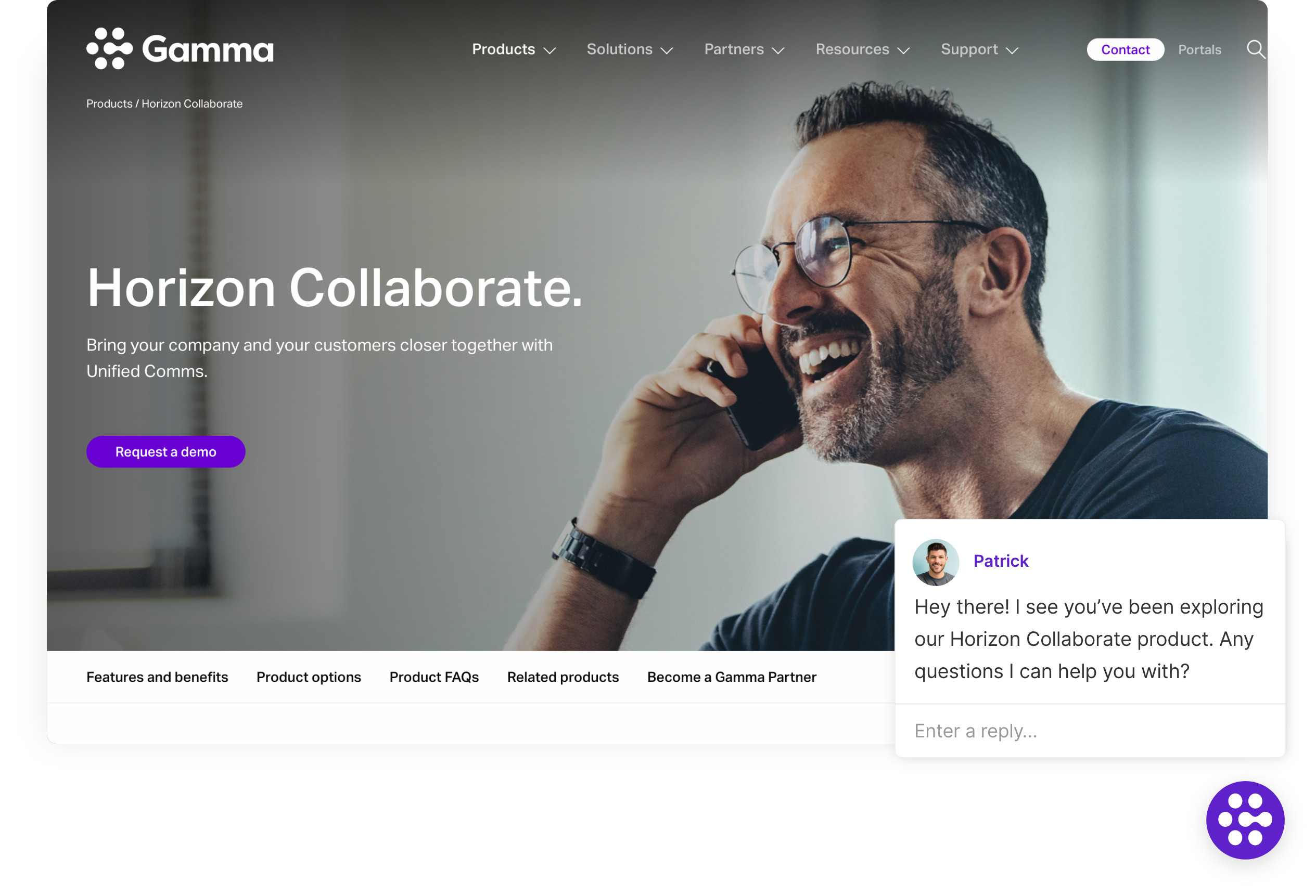 Gamma welcomes qualified visitors with an invitation to have a real-time sales conversation