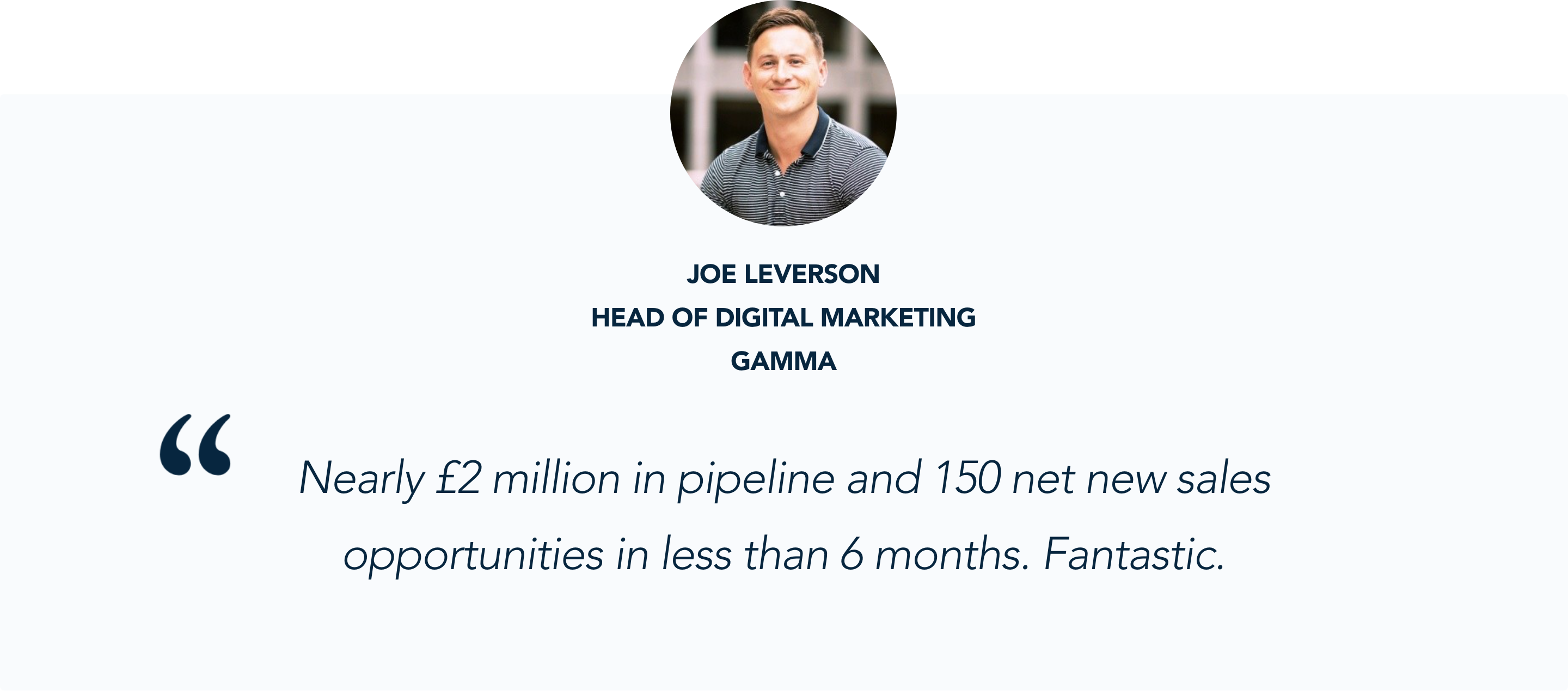 Joe Leverson, Head of Digital Marketing at Gamma, shares the sales impact Conversational Marketing has had on their business