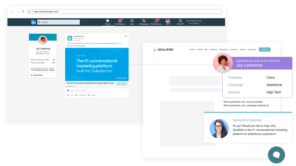 Qualified's Conversational Marketing platform improves your paid advertising campaigns by delivering personalized website experiences