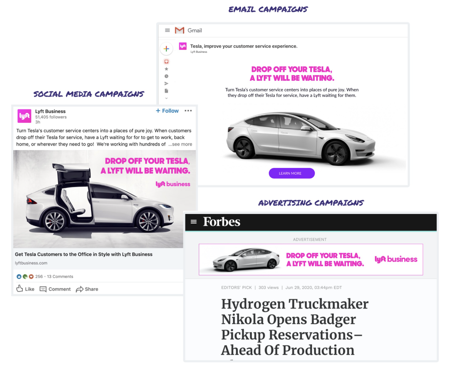 Lyft's example of a multi-channel ABM campaign