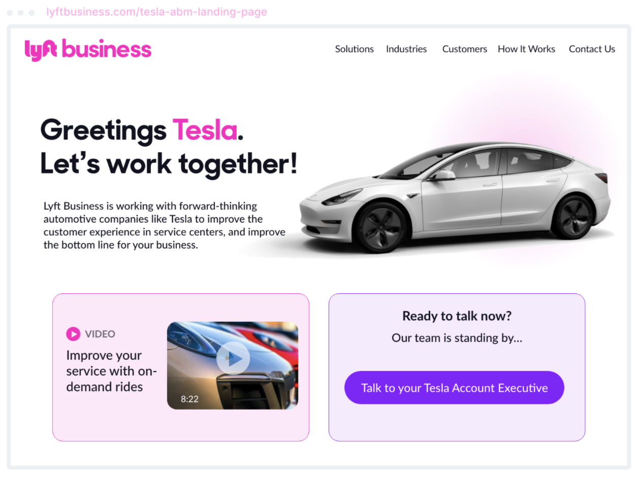 Lyft's example of ABM website personalization