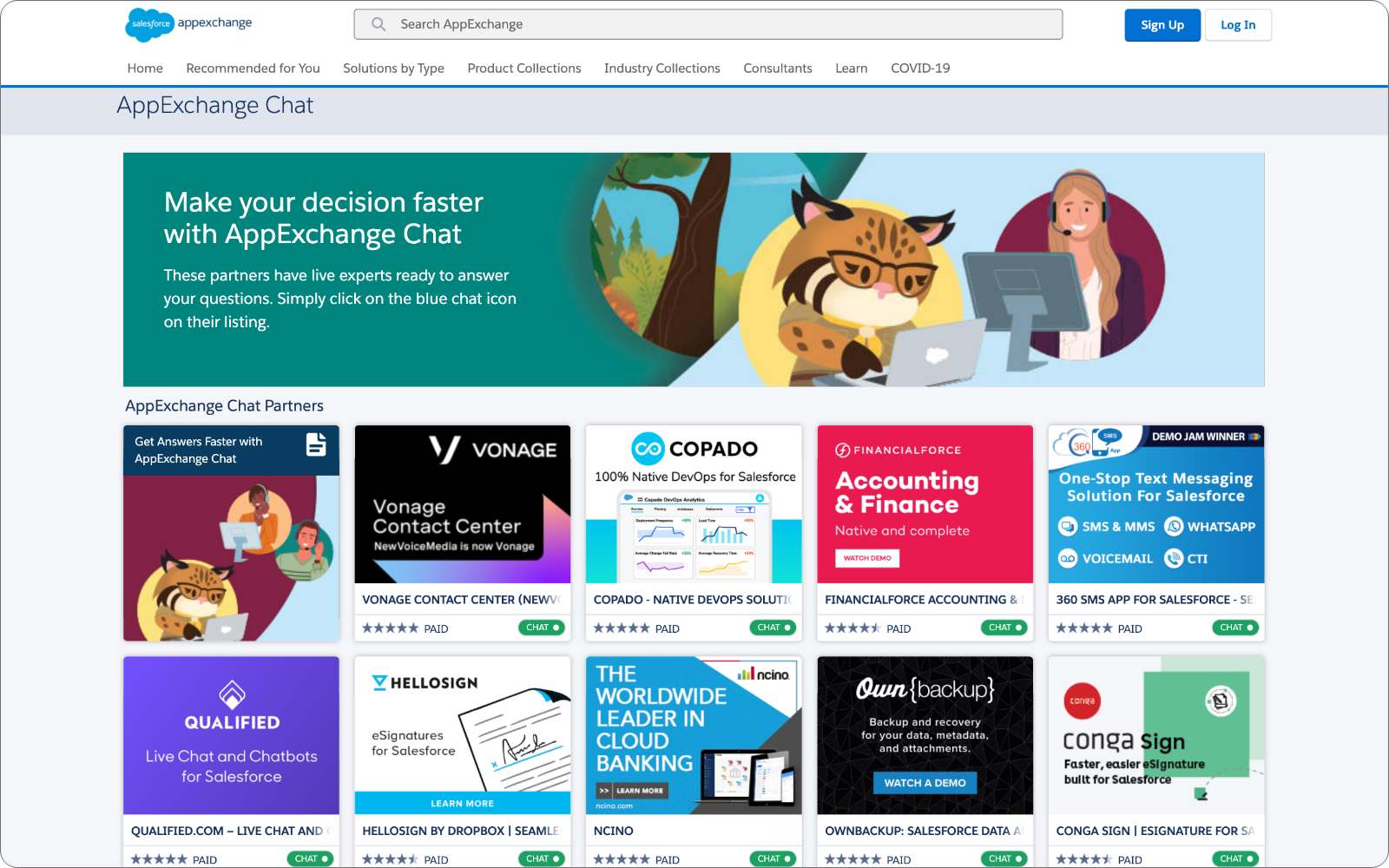 A Collection of Salesforce AppExchange partners now live with AppExchange Chat powered by Qualified.com