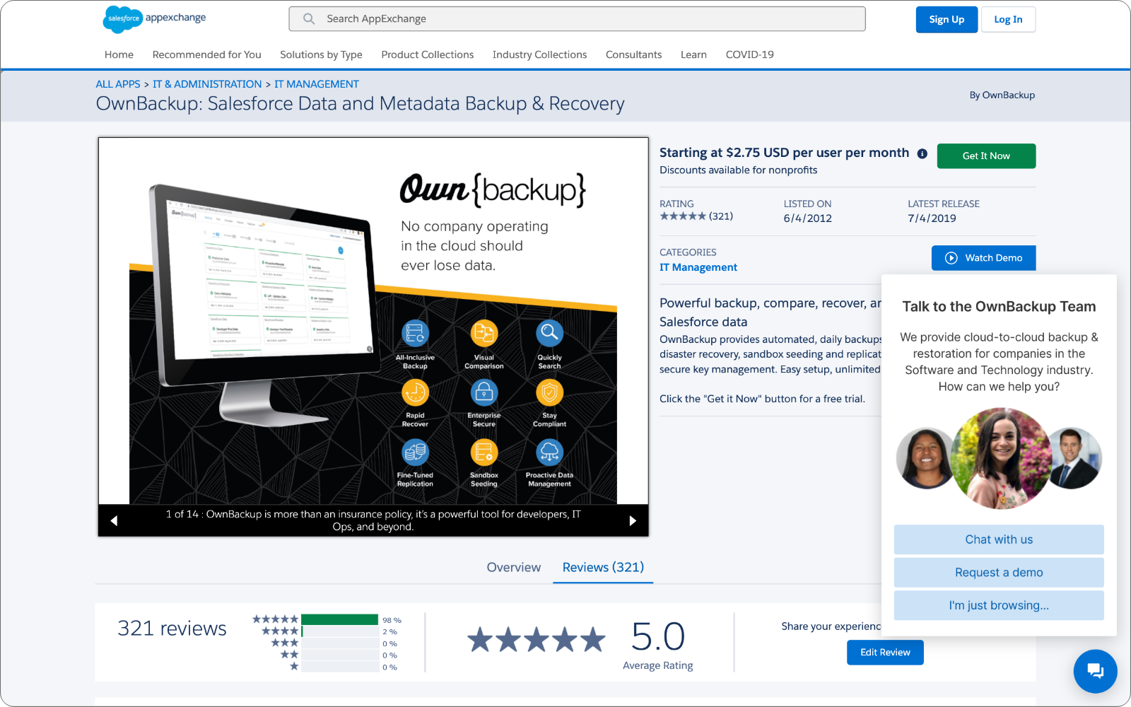 The OwnBackup AppExchange listing with AppExchange Chat