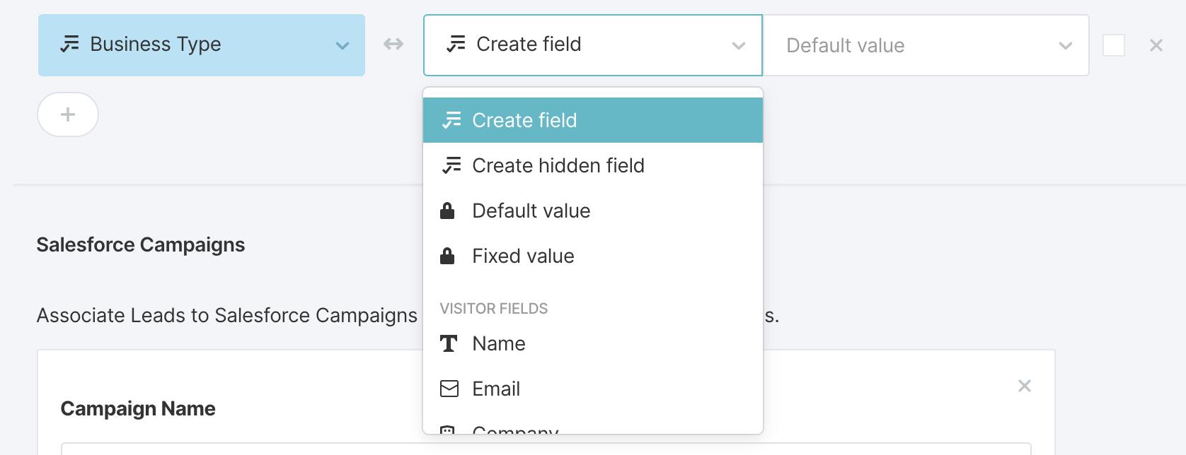 Selecting to Create a Field in Qualified