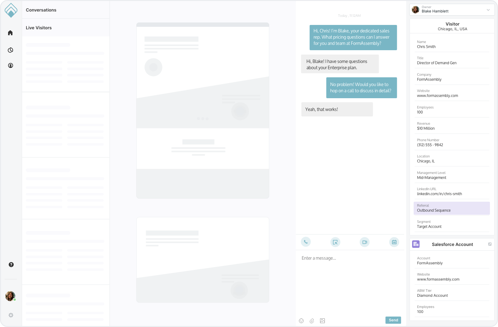 conversational marketing dashboard view of a prospect