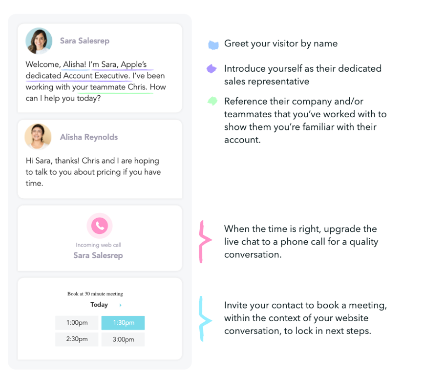 greet target accounts on your website with conversational marketing ABM