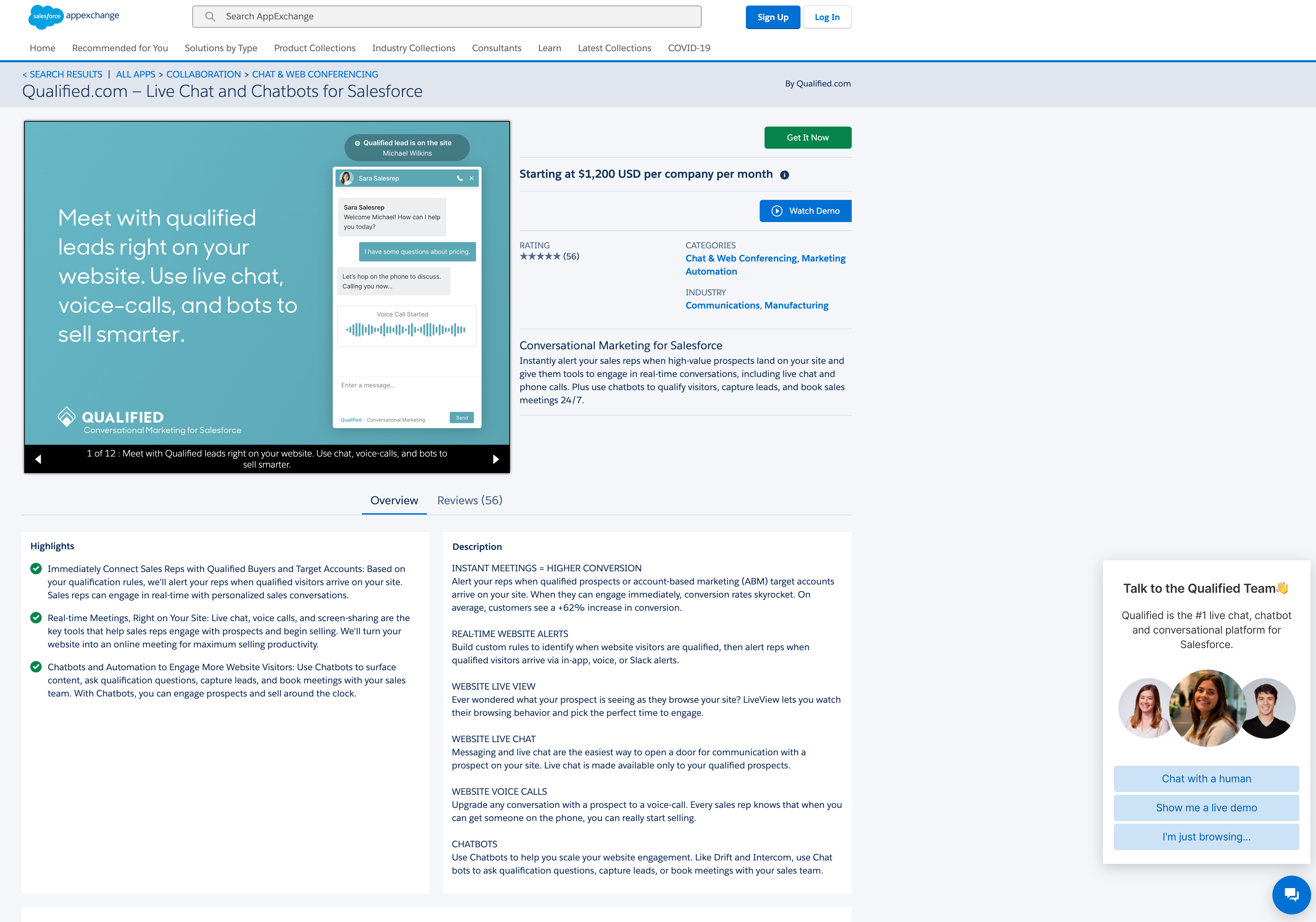 How AppExchange chat will appear in your listing