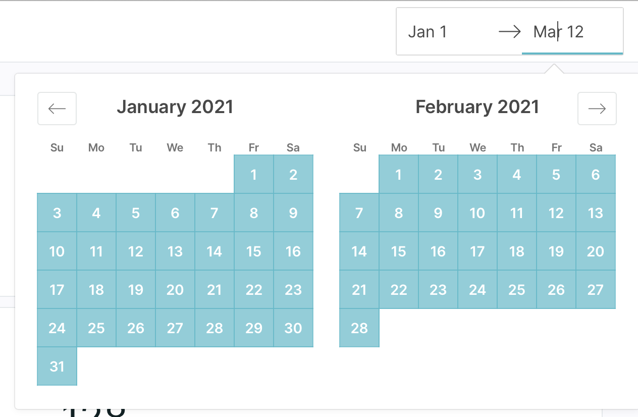 Calendars displaying a selected date range from January 1st to March 12th