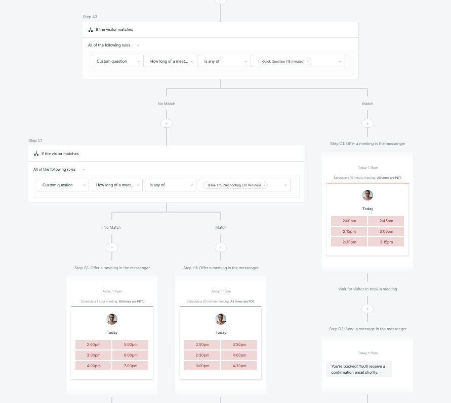 Multiple branches with the Qualified Experience builder which routes visitors to different meeting booker options depending on their previous selection.